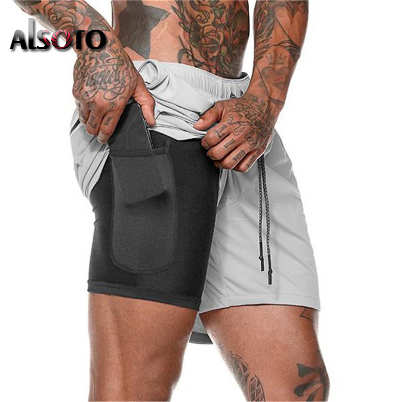 Men 2 In 1 Running Shorts Casual Shorts Quick Drying Bermuda Beach Sport Shorts Built-in Pockets Hips Gyms Zipper Boardshorts