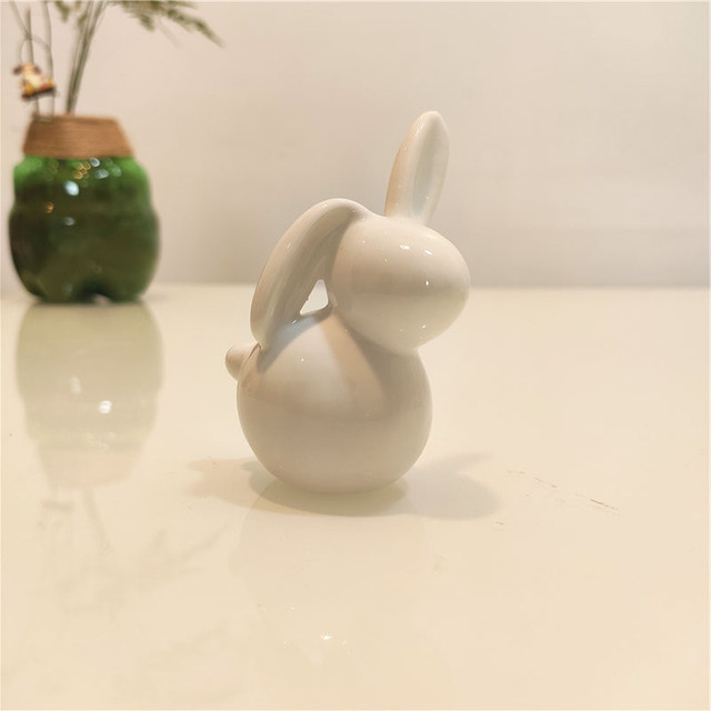 Ceramic Cute Pure White Rabbit Figurines Porcelain Table Home Decoration China Gift Modern Statue Handmade furnishings DHYY05 6