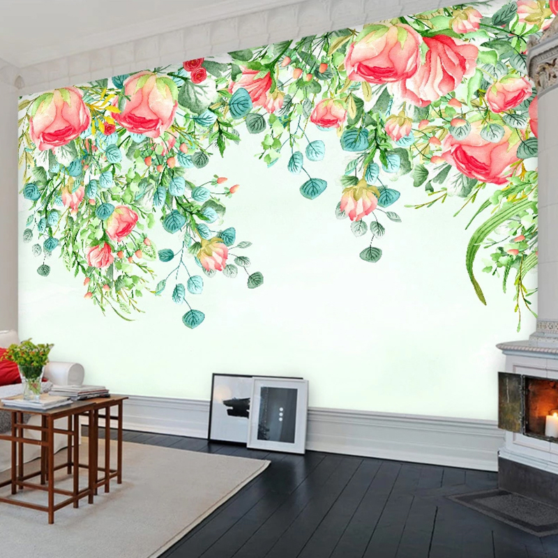 Custom 3D Mural Wallpaper Modern Pastoral Floral Flowers Wall Decor Painting Living Room Bedroom Non-woven Embossed Wall Paper