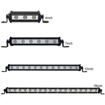 OFFROAD SUPER SLIM LED WORK LIGHT BAR 4-19 INCH 12V 24V CAR SUV TRUCK WAGON PICKUP 4X4 UTE SPOT BUMPER SINGLE ROW DRIVING LAMP image