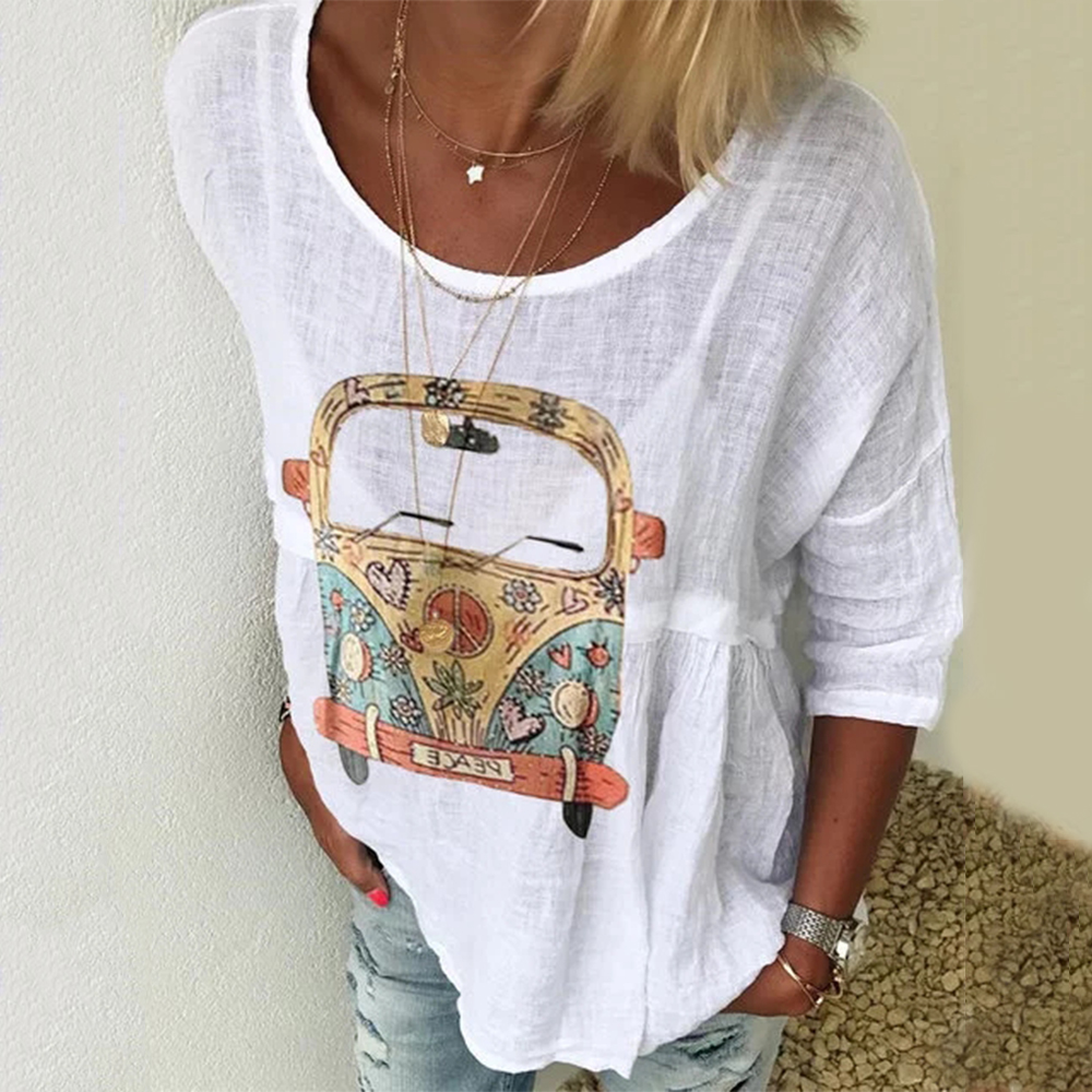 Cotton Women's   Blouses   Car Print Solid O Neck Womens Tops And   Blouses     Shirts   Casual Vintage Female Tunic Summer Thin   Shirts