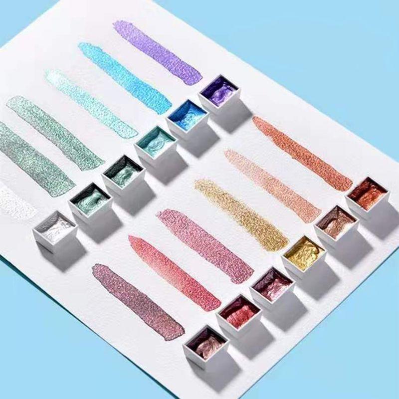 12 cores sólido aquarela tintas conjunto texturizado perolado pigmento metálico glitter acuarela terno portátil fontes de arte