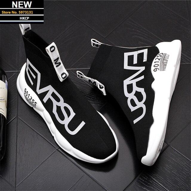 Zapatos de calcetín de diseñador de lujo para Hombre, Zapatillas de plataforma informales de punto de Zapatillas Hip Hop, Botines altos 1