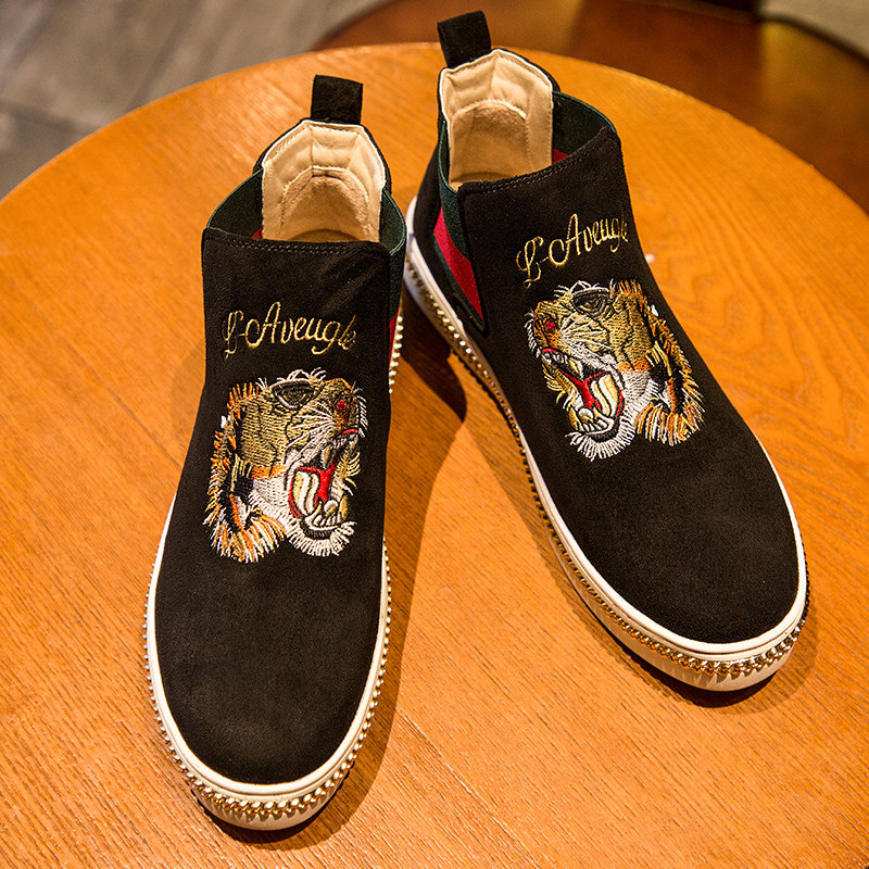 Autumn Winter Comfortable Suede Fashion Animal Embroidery Shoes Men Black Footwear Slip On High Top Embroidered Men Shoes Casual