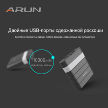 ARUN-Y304 BLACK Power Bank 10000 mah, Portable External Battery for Mobile Phone, RU Warehouse