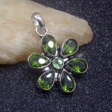 Brillant brillant nouveauté vert péridot charme couleur argent bijoux de mode pendentif collier 50mm HD535