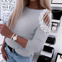 Autumn Winter Women Pullover Sweater Casual Off Shoulder O Neck Beading Knitted Tops Ladies Solid Fluffy Soft Sweater Sueter D30