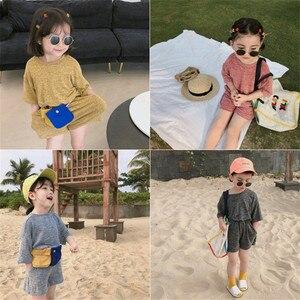 Новая летняя одежда для маленьких девочек, 2020 год комплекты для маленьких девочек футболка с короткими рукавами и шорты детская одежда