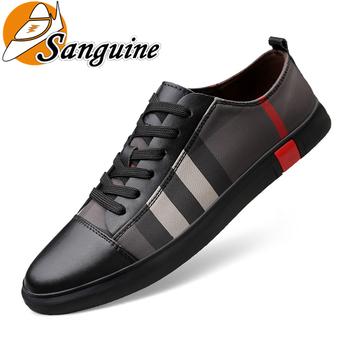 Mężczyźni buty moda męskie oddychające buty deskorolkowe męskie moda Sneakers trenerzy wysokiej jakości buty na co dzień prawdziwej but skórzany tanie i dobre opinie sanguine Skóra Split Paski NONE Wiosna jesień Lace-up Mieszkanie (≤1cm) Pasuje prawda na wymiar weź swój normalny rozmiar