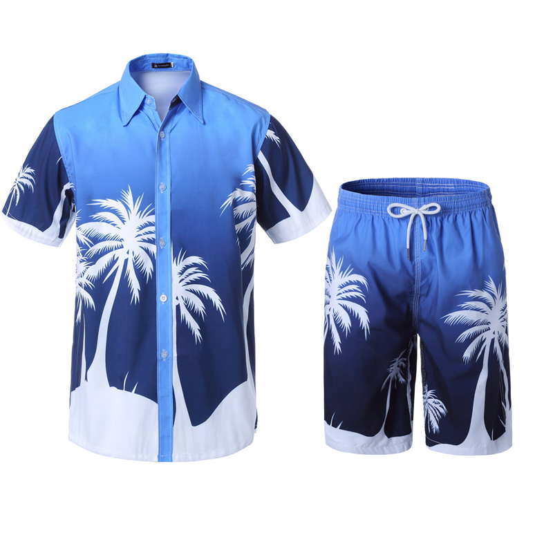 New Men's Set Summer Causal Beach Suits Short Sleeve Shorts Sweatsuit Swim Pants Plus Size Quick-dry Male Workout Wear 4XL 5