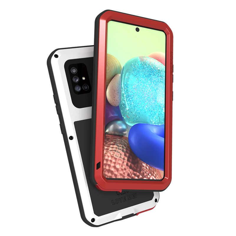 Caso di alluminio Per Samsung Galaxy A71 5G Cassa Del Metallo + Vetro Gorilla Shock Goccia Heavy Duty Protezione Doom Armatura originale Lovemei