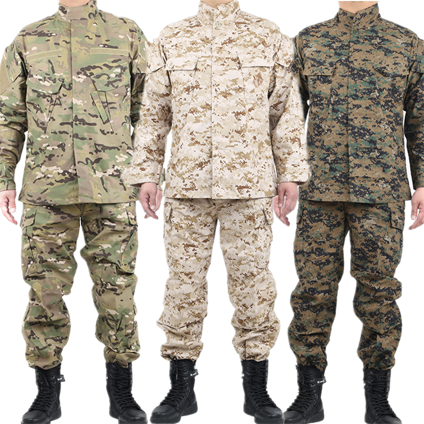 Mens Military Uniform Tactical Clothing Combat Shirt Camouflage Army Militar Soldier Special Forces Coat+Pant Set Maxi XS-2XL