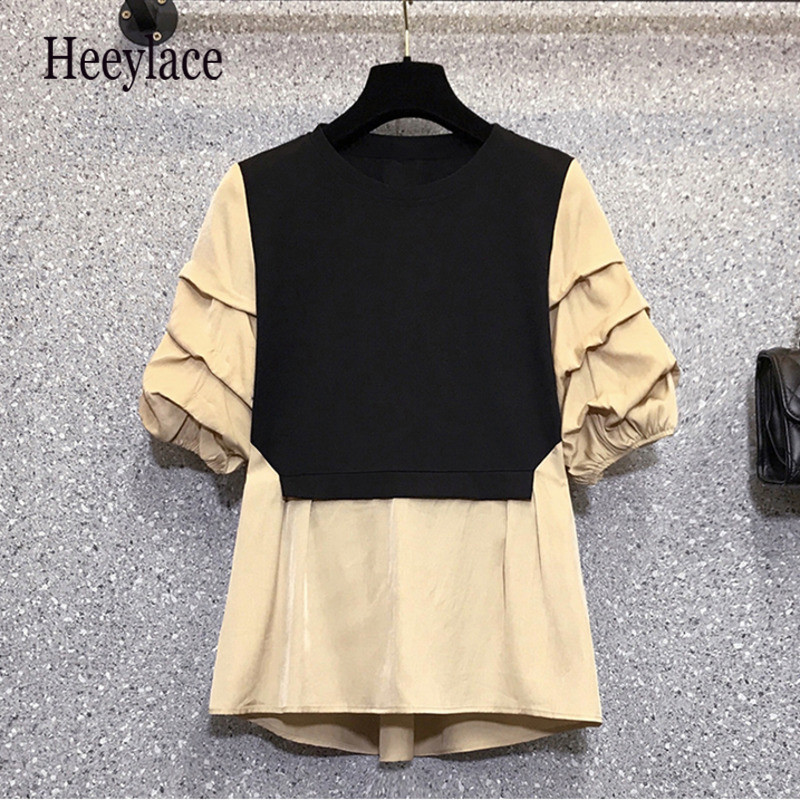 Plus size Summer women patchwork shirts 2021 fake two o neck puff sleeve korean tops fashion office ladies blouse casual top