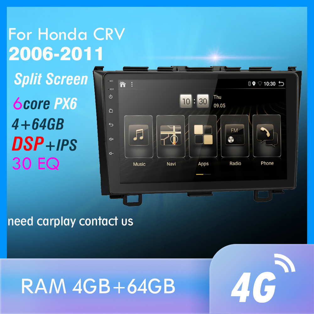 PX6 Android 9.0 DSP Car Radio For <font><b>Honda</b></font> <font><b>CRV</b></font> CR-V 3 2006 <font><b>2007</b></font> 2008 2009 -2011 Multimedia Player <font><b>GPS</b></font> Navigation wifi 4G 2din image
