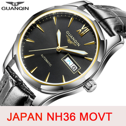 GUANQIN التلقائي الميكانيكية الرجال ساعة اليابان NH36 حركة ساعة ياقوت الرجال مضيئة ساعة مقاوم للماء تاريخ SaRelogio Masculino