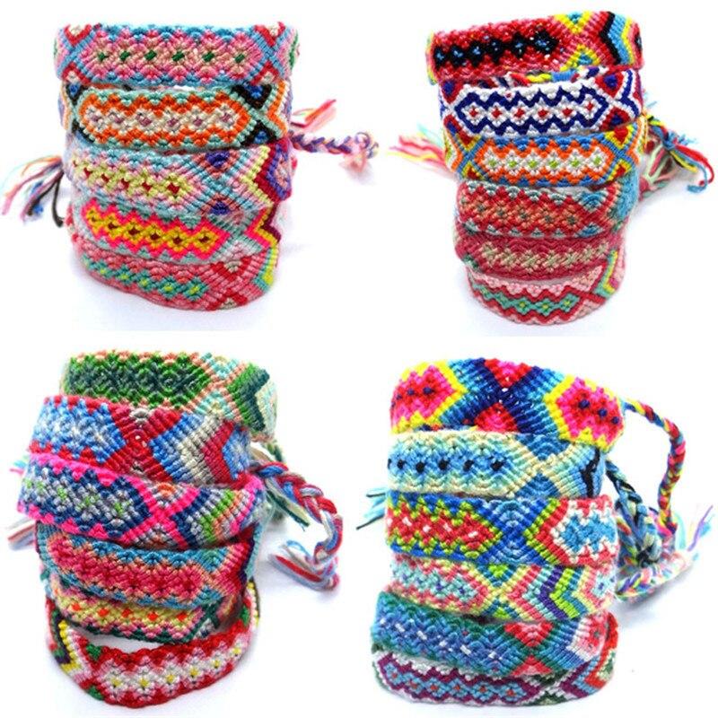 31 Styles Bohemian Color Handmade Cotton Rope Adjustable Friendship Bracelet Women Beach Volleyball Ethnic Jewelry Wristband