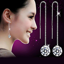 Women Silver Plated Long Chain Drop Earrings Crystal Rhinestone Cocktail Linear Dangle Tassel Earrings For Party Jewelry kalaisike linen universal car seat covers for haval all models h1 h2 h5 h6 h3 h7 m6 h8 h9 car styling auto accessories