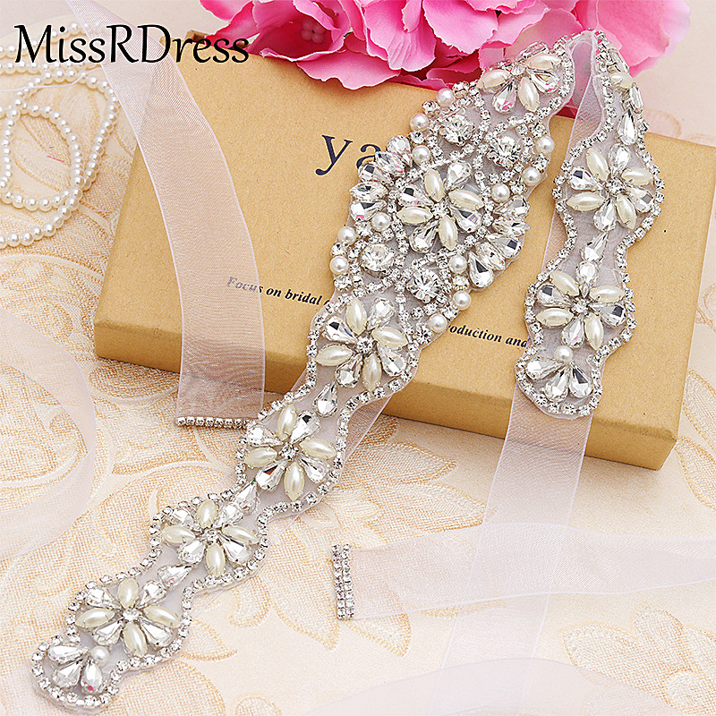 MissRDress Pearls Wedding Belt Simple Crystal Bridal Sash Rose Gold Rhinestones Bridal Belt For Wedding Evening Dresses JK806
