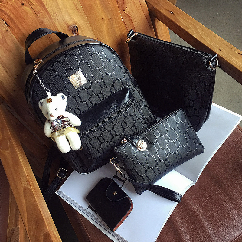 2019 New Style Embossed WOMEN'S Bag Bear Pendant Purse Four-piece Set Bag Multi-functional Schoolbag Backpack