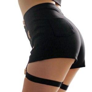 Image 2 - Summer Sexy Ladies Shorts High Waist Punk Rock Bandage Hollow Out Dance Show Party Club Hot Short Pants  Women Shorts Street