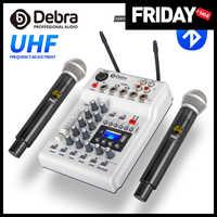 DebraAudio-tarjeta de sonido mezcladora para DJ, micrófono Inalámbrico UHF de 2 canales para casa, PC, grabación de estudio, DJ, Red de Karaoke en vivo