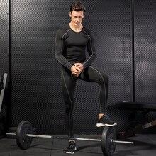 Yuerlian Hot Compression Tracksuit Fitness Tight Sports Set T-shirt Legging Men Sportswear Demix Black Gym Running Suit