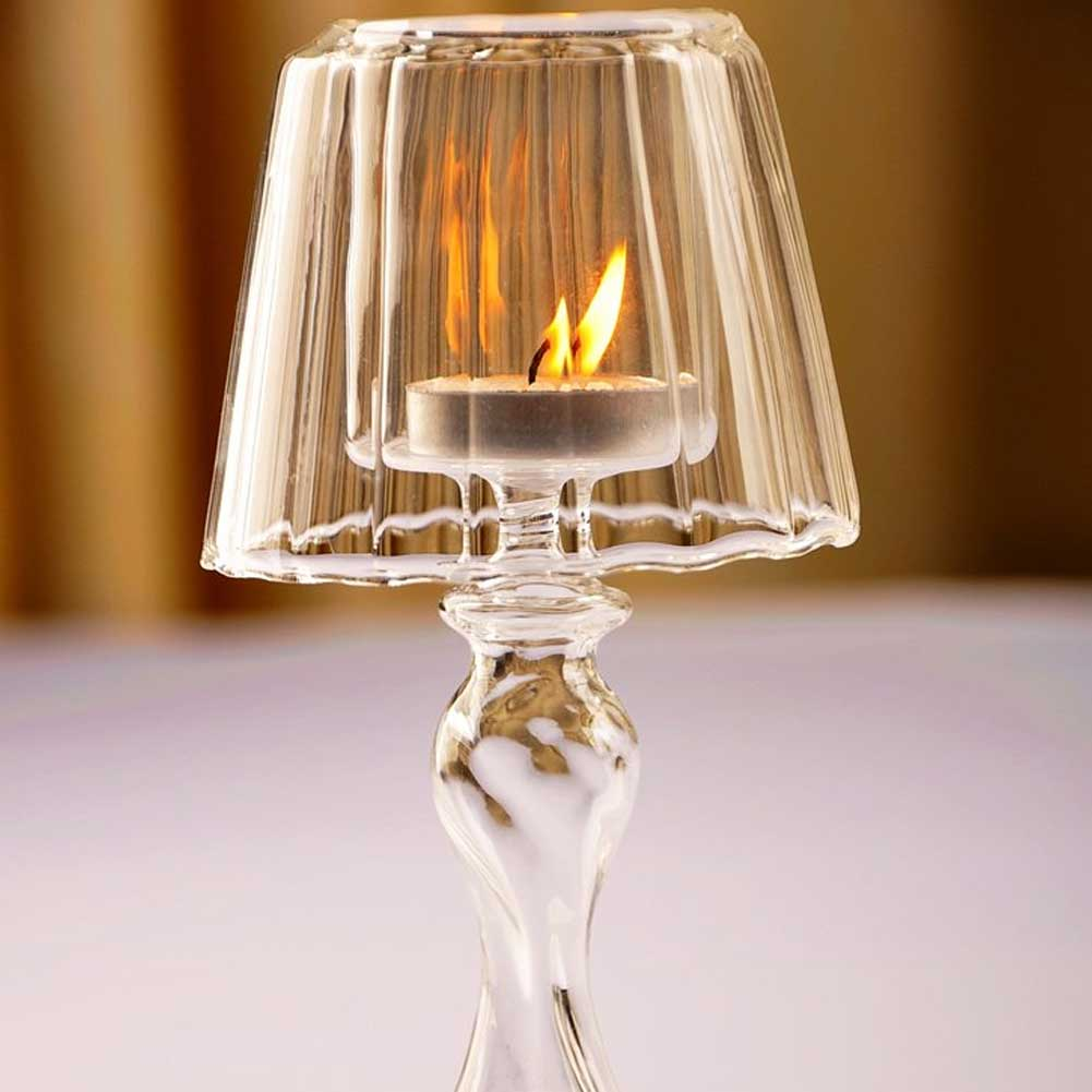 Glass Candlestick Creative Stripe Design Glass Tealight Candle Cup For Party Wedding Bar Party Home Decor Candlestick 18.5cm