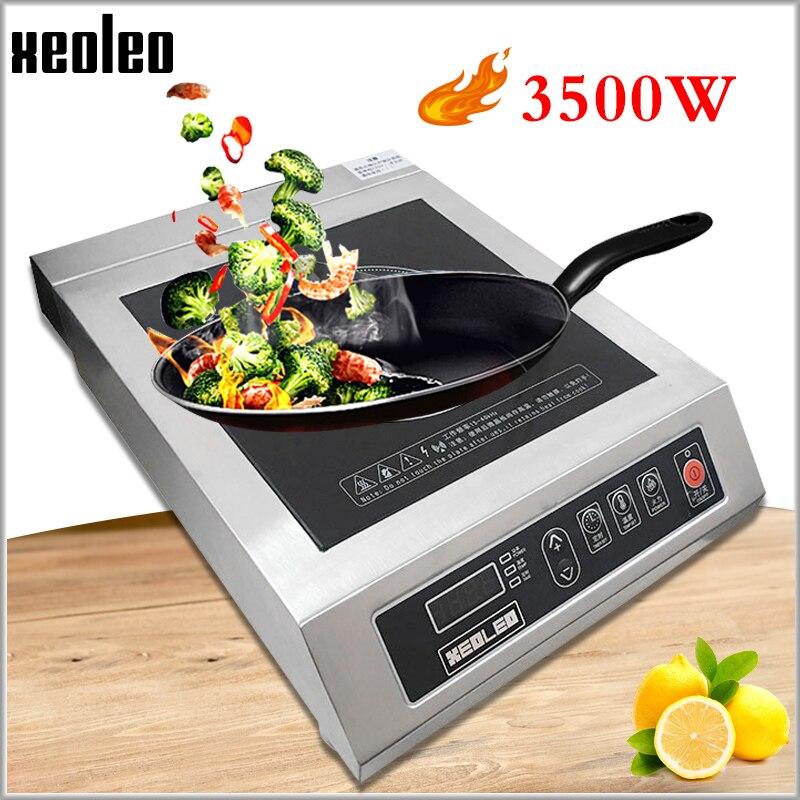 Cuisinière à Induction commerciale XEOLEO 3500W acier inoxydable cuisinière à chauffage électromagnétique cuisinière électromagnétique avec synchronisation