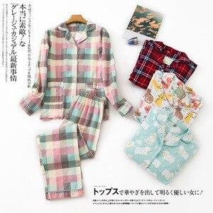 Image 2 - Inverno 100% algodão escovado conjuntos de pijamas feminino outono coréia doce puro algodão pijamas pijamas mujer