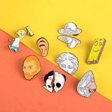 2pcs enamel pin Van Gogh Plank Ed Edd Eddy Punk women face brooches starfish sculpture Lapel pins badge Clothes bag jewelry gift(China)