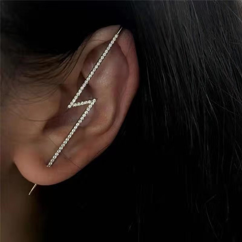 Fashion Personality Lightning Cubic CZ Earrings For Women High Quality Retro Long Earrings Female Jewelry Wedding Party Gift