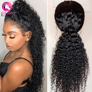 Image 2 - Eva Hair 360 Lace Frontal Wig Pre Plucked With Baby Hair Brazilian Curly Lace Front Human Hair Wigs For Black Women Remy Hair