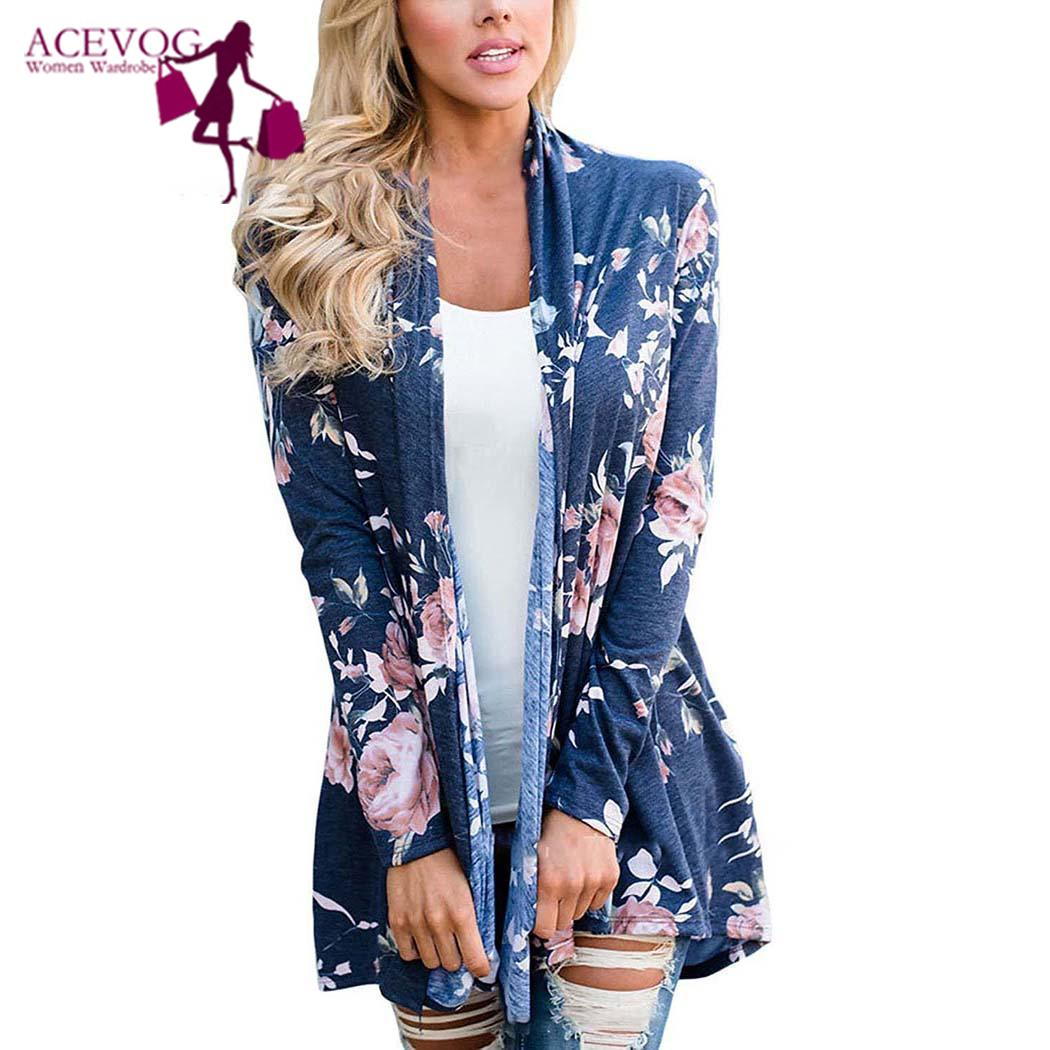 Women Casual Floral Print Long Sleeve Wrap None Cardigan Coat Winter/Spring/Autumn Outwear Hip Length