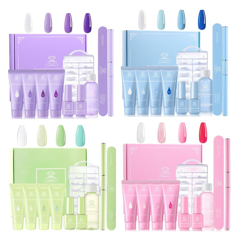 Makartt Blue Poly Nail Extension Gel Kit, 15ML Nail Extension Gel Builder Gel With Slip Solution Nail Art Equipment Kit