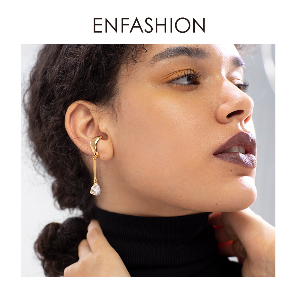 ENFASHION Asymmetric Water Droplets Crystal Ear Cuff Clip On Earrings For Women Gold Color Earcuff Earings Fashion Jewelry E1151