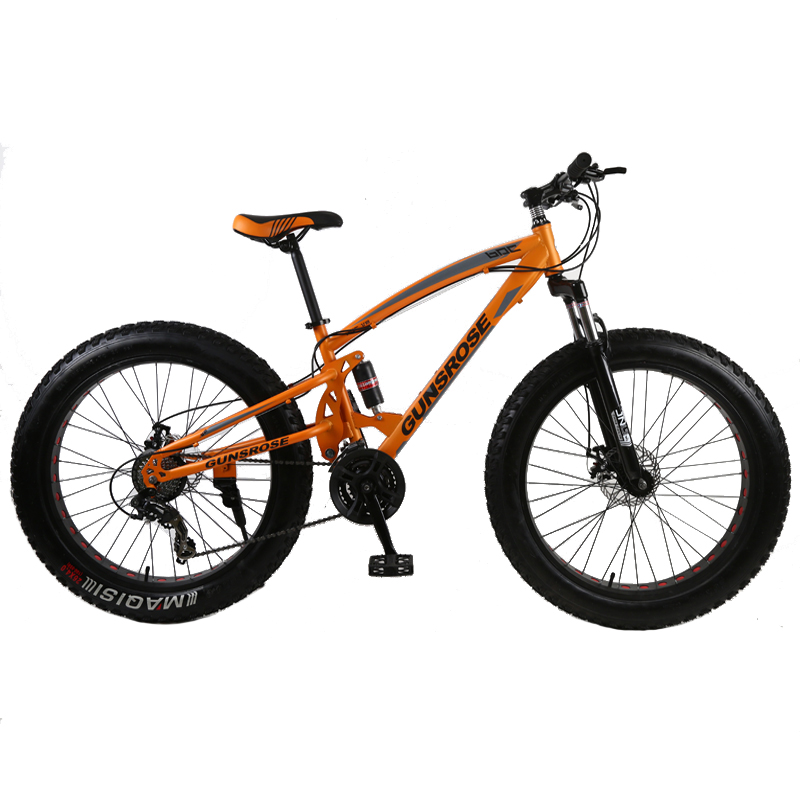 4.0 Fat Bike Mountain Bike Double Disc Brake Beach Bicycle Snow Bike Light High Carbon Steel 24/26 Inch Mountain Bicycle
