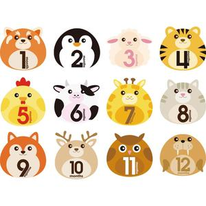 12 Pcs Animal First Year Monthly Milestone Photo Sharing Baby Belly Stickers 1-12 Months