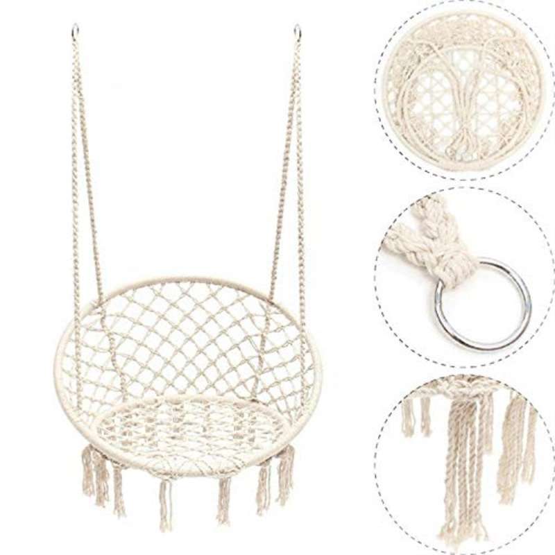 80x120cm Round Hammock Chair Outdoor Indoor Dormitory Bedroom Yard For Child Adult Swinging Hanging Single Safety Chair Hammock