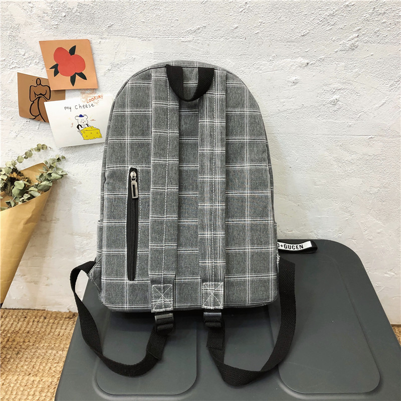 Женский хлопковый рюкзак DCIMOR, школьный ранец в клетку для девочек-подростков, дорожные сумки с меховыми помпонами-4