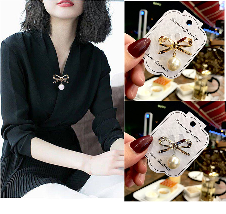 Fashion Temperament Simple Imitation Pearl Bow Brooch Badges Woman Clothes Fixed Pin Clothing Accessories Silk Scarf Buckle 1PC
