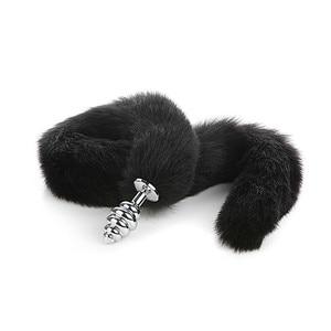 Image 3 - Long Tail 80cm Tail Removable Anal Plug Adult Sex Goods Cat Black Tail Anal Plug Plush Sex Belt  Slut  Sexual Toys  Cuff  Slut