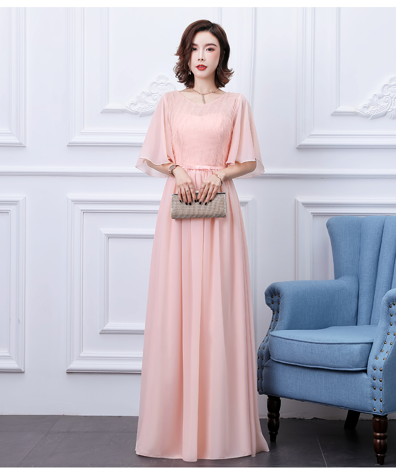 O-Neck Chiffon Bridesmaid Dresses Short Sleeves Elegant Dress Women For Wedding Party Vestido Azul Marino Simple Dress Sexy Prom