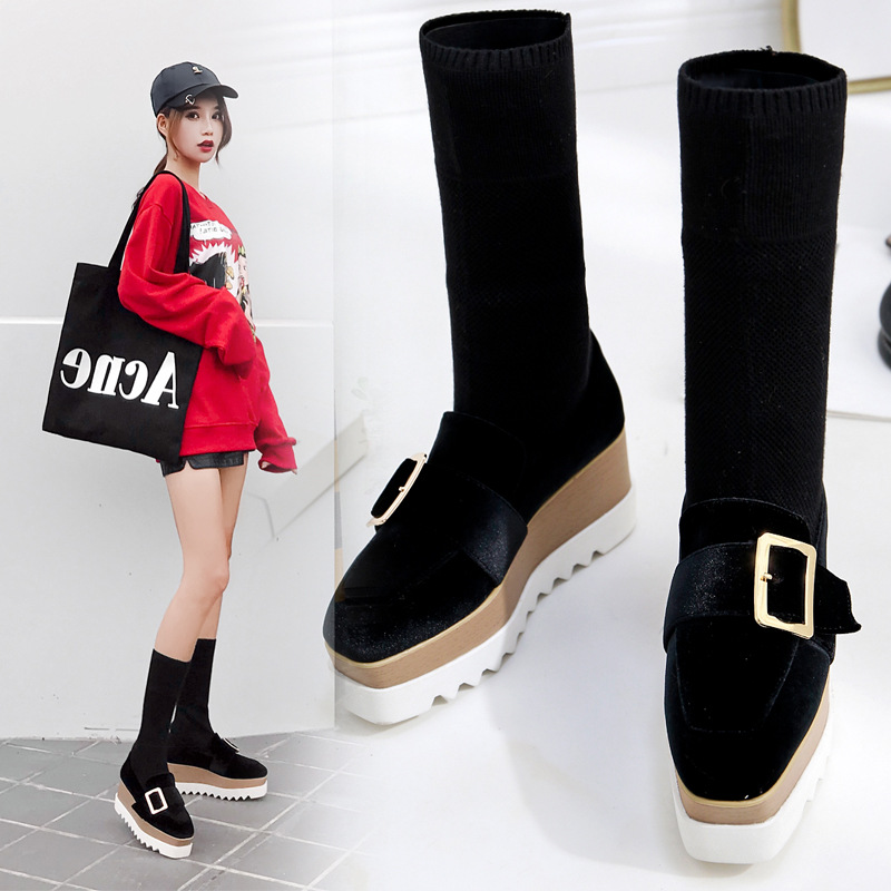 2019 Autumn New Style Platform Slanted Heel Thick Bottomed Fly Woven Slip on Buttons Platform Shoes Overknee Boots Socks Boots|  - title=