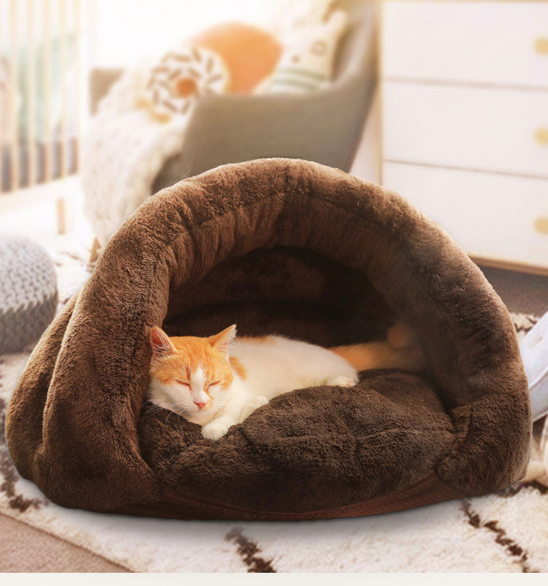 Triangle Pet bed for Small Cats Dogs Soft Nest Kennel Bed Cave House Sleeping Bag Mat Pad Tent Pets Winter Warm Cozy Beds Supply 3