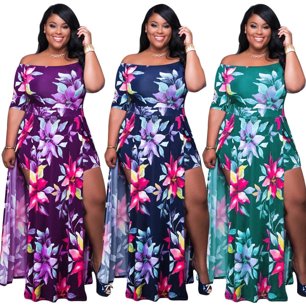 Dress Women Plus Size Summer High Waist Off Shoulder Dresses Maxi Elegance Sexy Split Shorts Floral Dress Wholesale Dropshipping