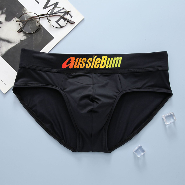 Aussiebum men's briefs milk silk low waist elastic comfortable u convex bag colorful words 4