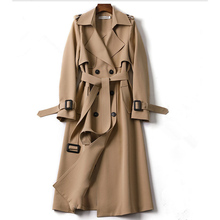 2020 Autumn Classic Casual Office Lady Double Breasted Long Trench Coat with Bel