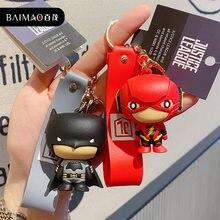 Genuíno dc comic justice league batman superman maravilha mulher anime figura de ação chaveiro brinquedos batman chaveiros figura boneca