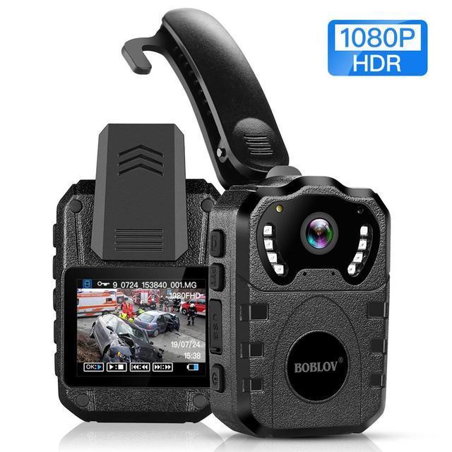 BOBLOV 1080P HD 64GB גוף שחוק מצלמה נייד רב תפקודי 170 ° IR לילה גוף רכוב מצלמה חזון DVR וידאו משטרת מצלמה