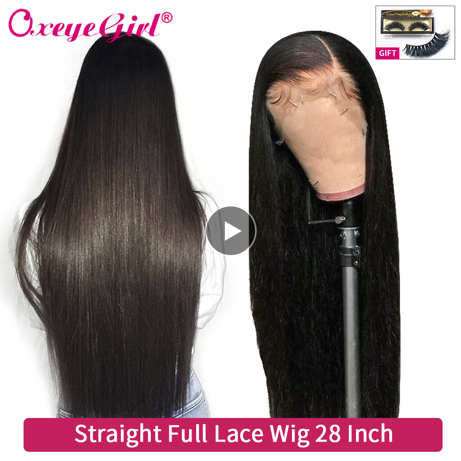Glueless Full Lace Human Hair Wigs With Baby Hair Pre Plucked Oxeye Girl Soft Brazilian Hair Straight Wigs For Women Remy Hair